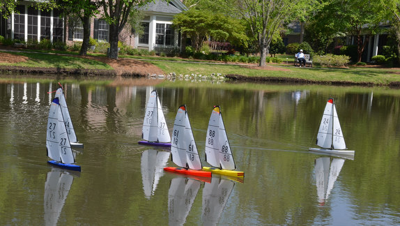 Model sailboats on Charleston pond