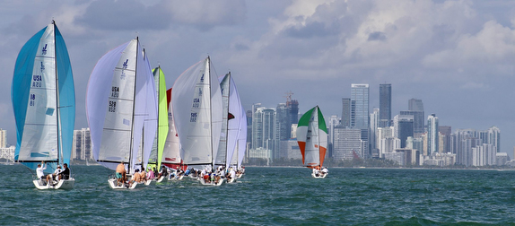 J/70s sailing Biscayne Bay off Miami, FL