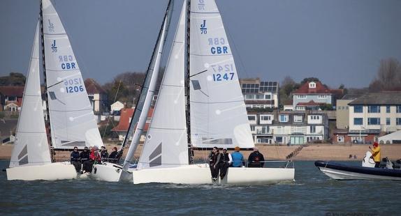 J/70s sailing on Solent off England