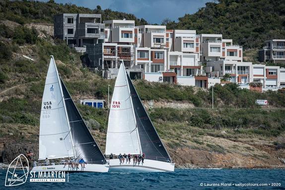 J/109 and J/105 sailing St Maarten Heineken Regatta