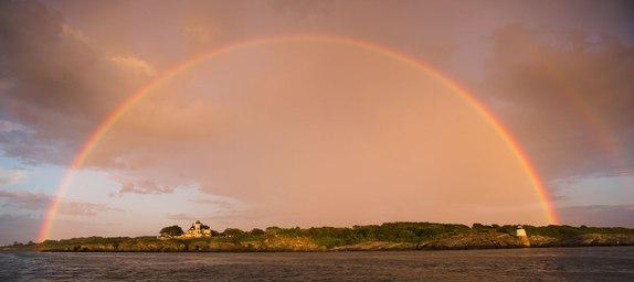 sunset and rainbow over Newport, RI