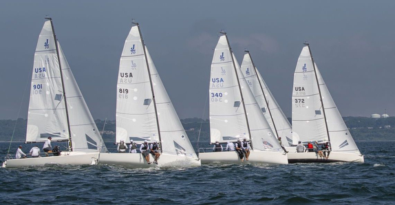 J/70s sailing regatta offshore