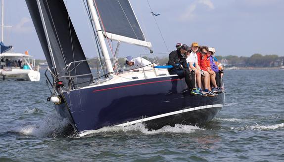 J/120 sailing on Charleston Harbor, SC