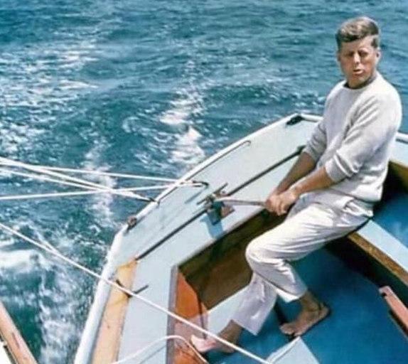 President John F. Kennedy sailing Biscayne Bay, Florida