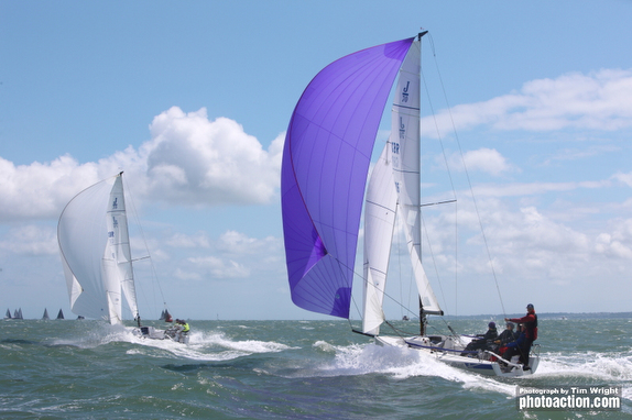J/70s sailing J/Cup off Cowes, England