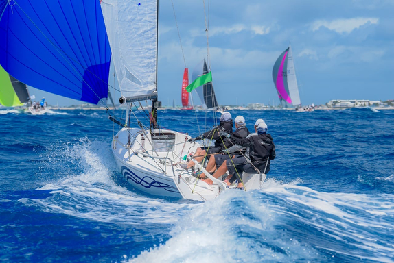 J/70 IGY Marinas sailing at St Maarten Heineken Regatta