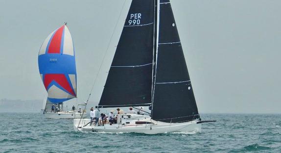 J/99 sailing upwind off Peru on Pacific Ocean