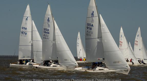 J/22s sailing upwind - New Orleans, LA