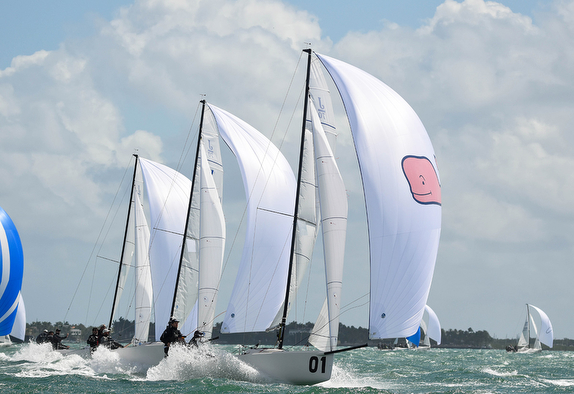 J/70s sailing off Miami on Biscayne Bay