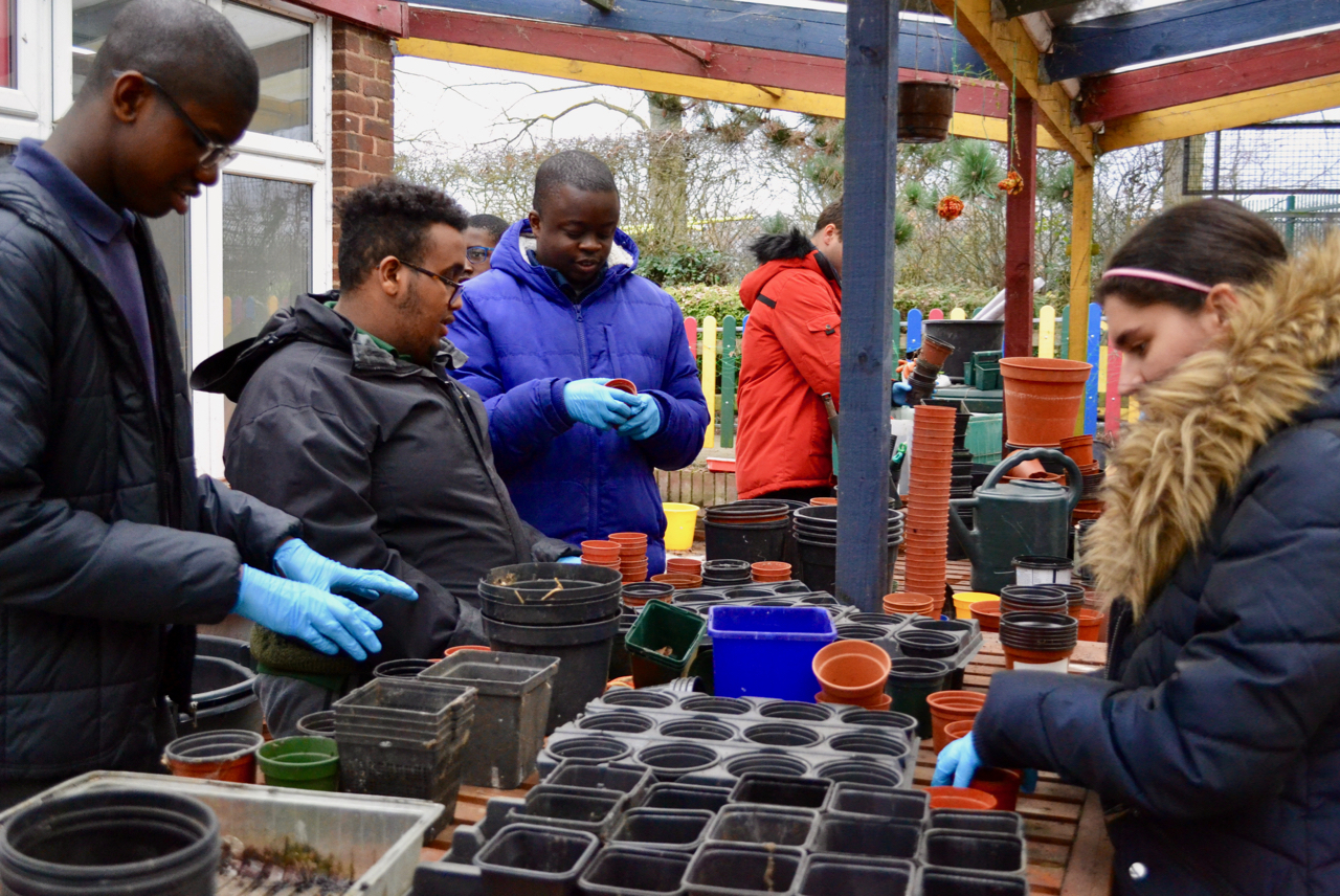 Students clearing up pots