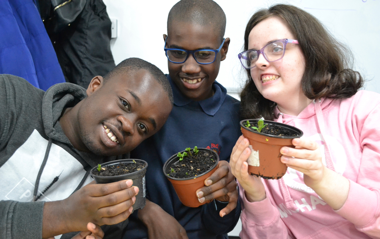 two boy and girl holding pot plants