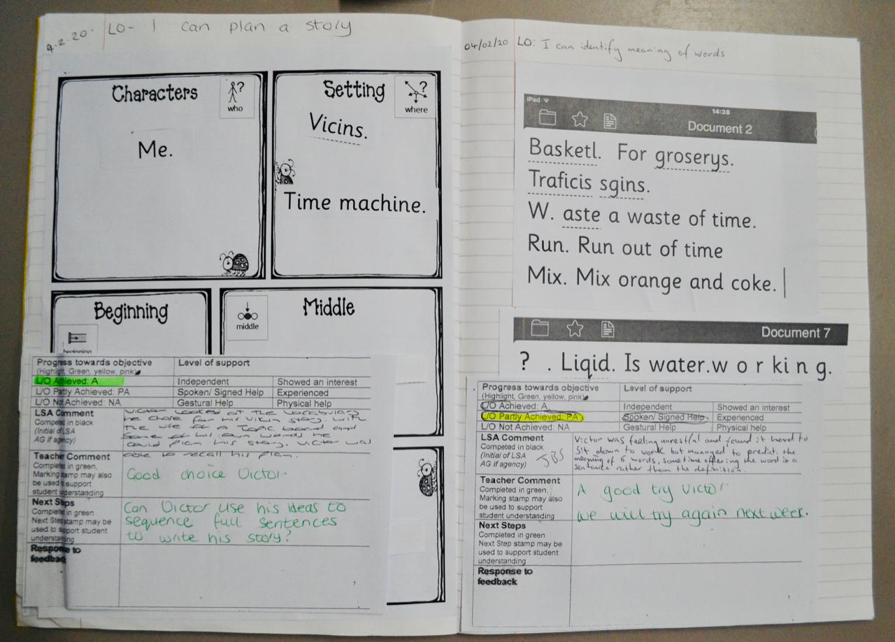 Child's literacy work