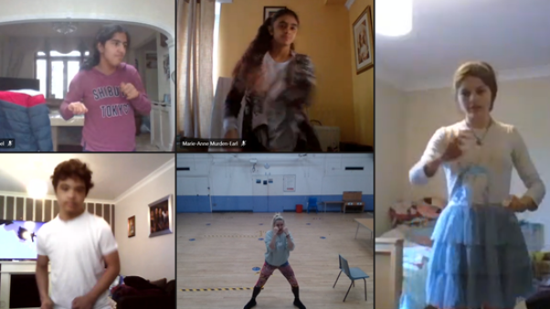 Online screen of students in various clothes dancing