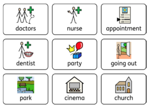 Symbols of various daily items including doctor, nurse and appointment