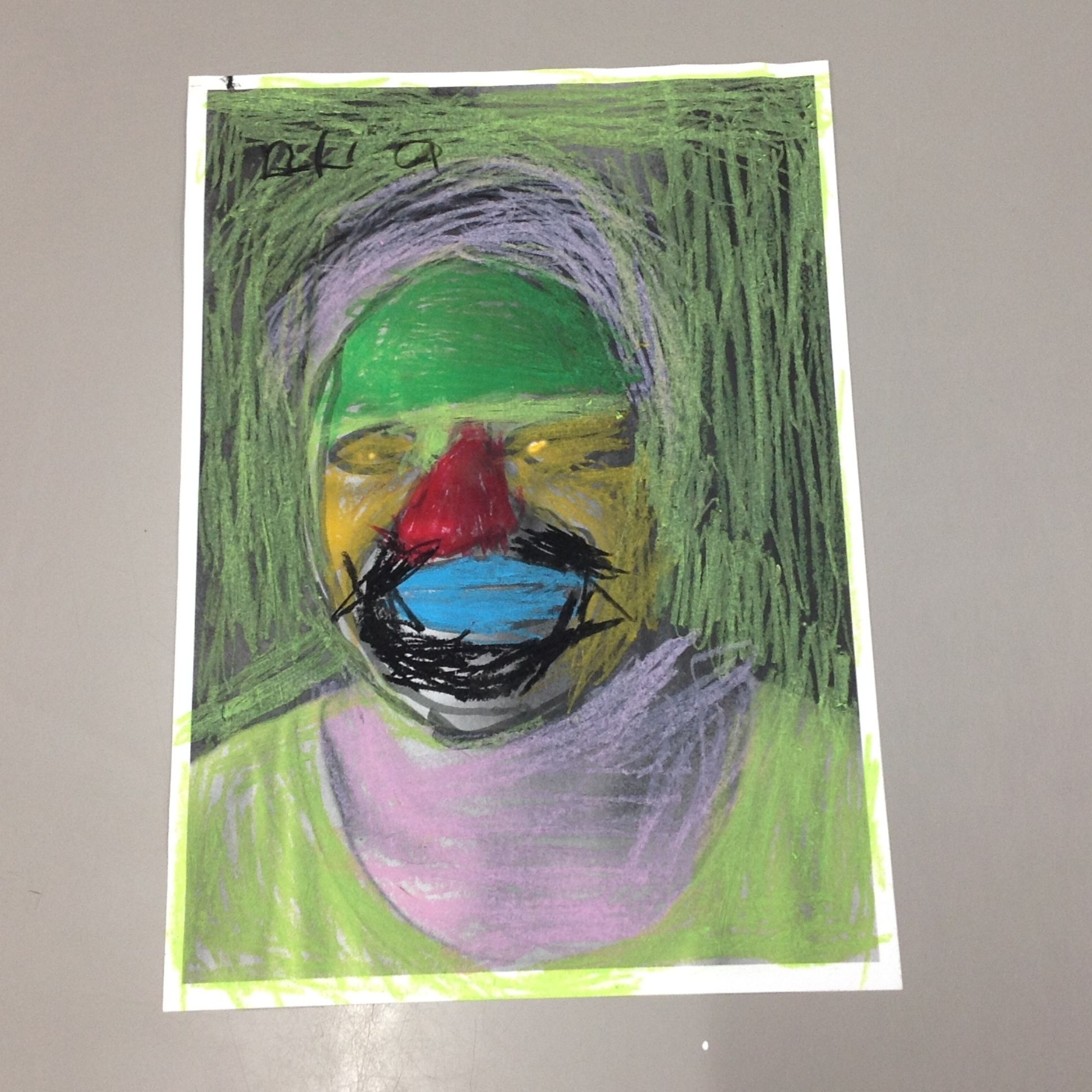 Illustrates photo of a girl by crayons
