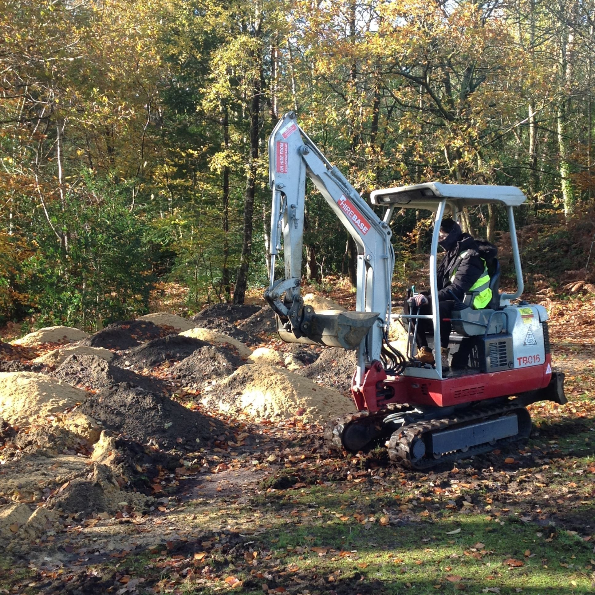 Young man in digger in woodland setting