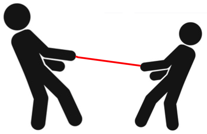 Parent and child in a tug-of-war pose