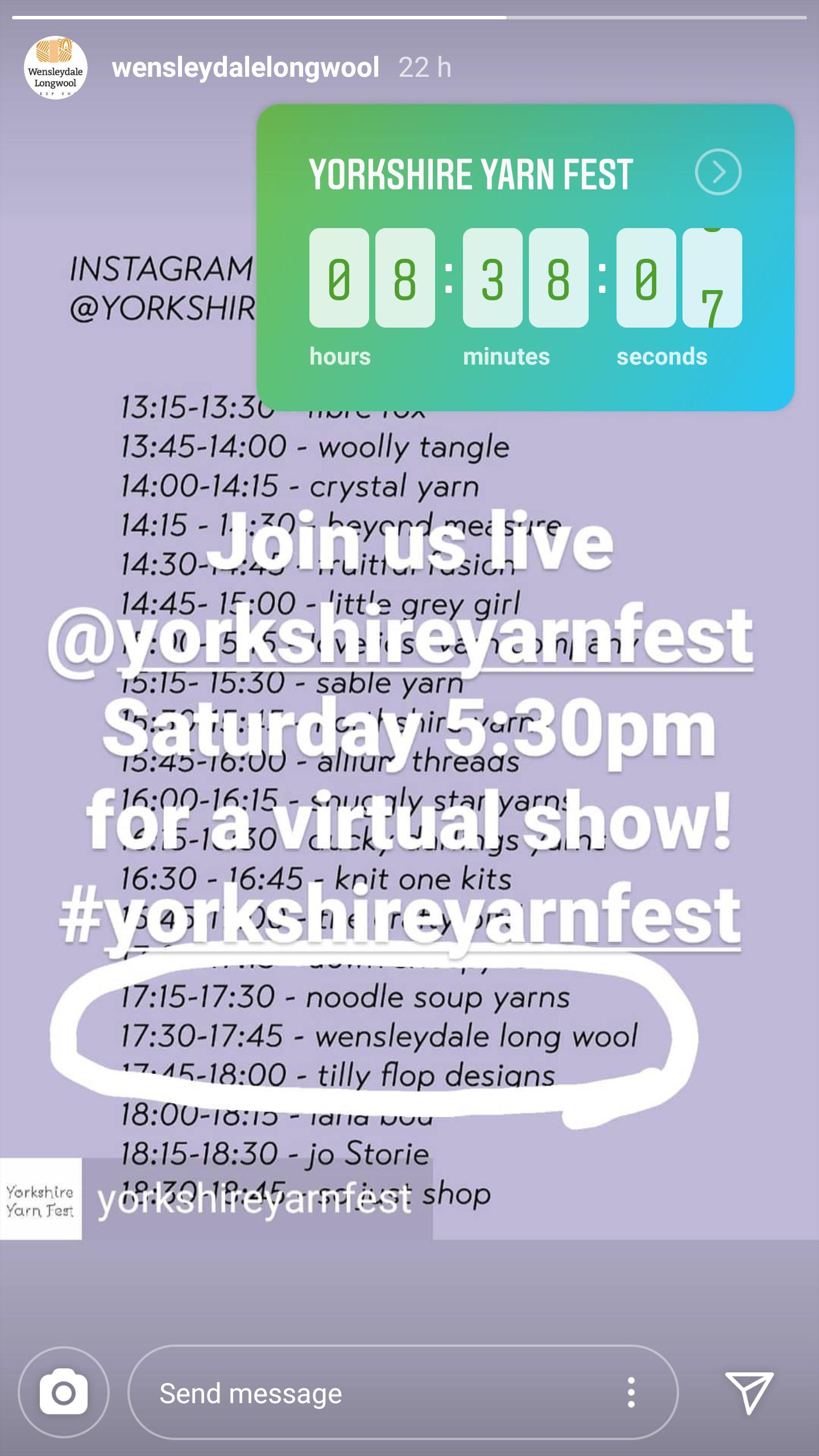 Yorkshire Yarn Fest schedule