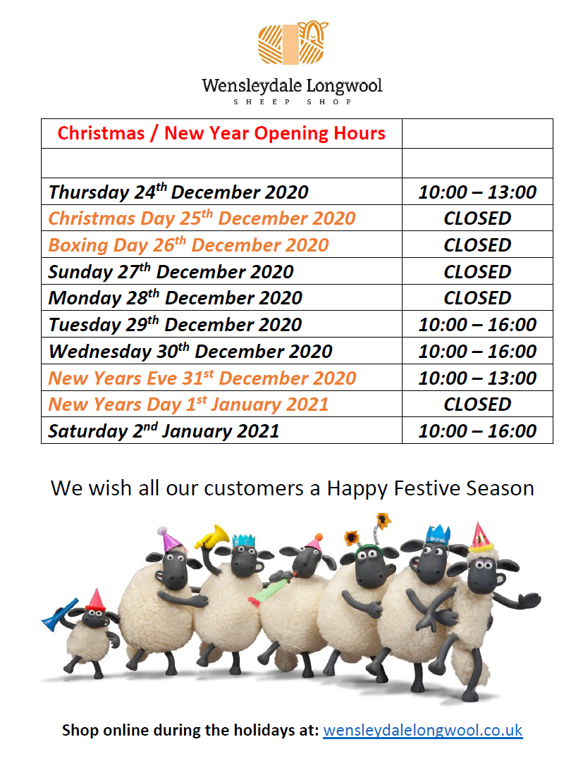 Shop Opening Hours - Christmas 2020