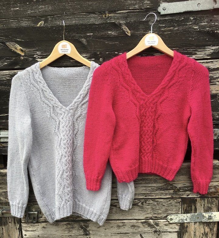 Wensleydale Hope jumper pattern knit cropped or long