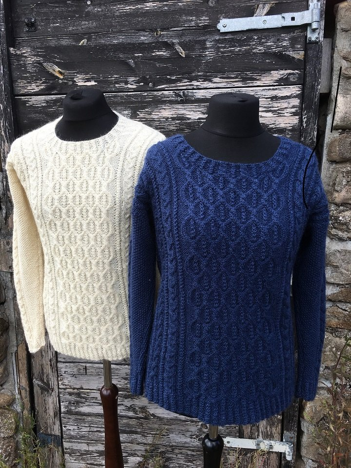 Aldwark cabled knitting pattern in Wensleydale DK