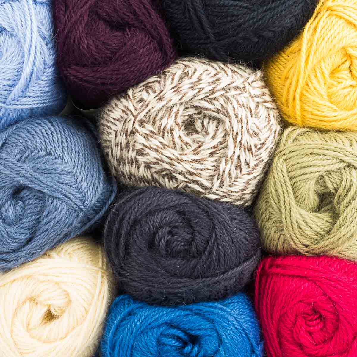 Wensleydale Aran Wool colours in 100g balls