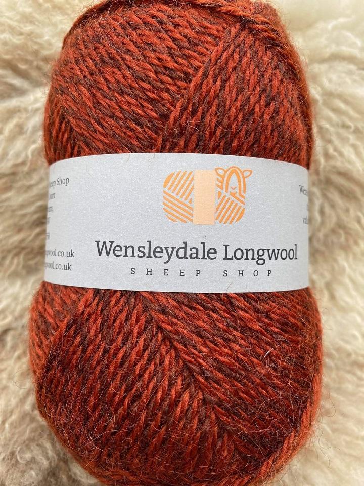 Wensleydale Aran Marl wool in Thornton Rust