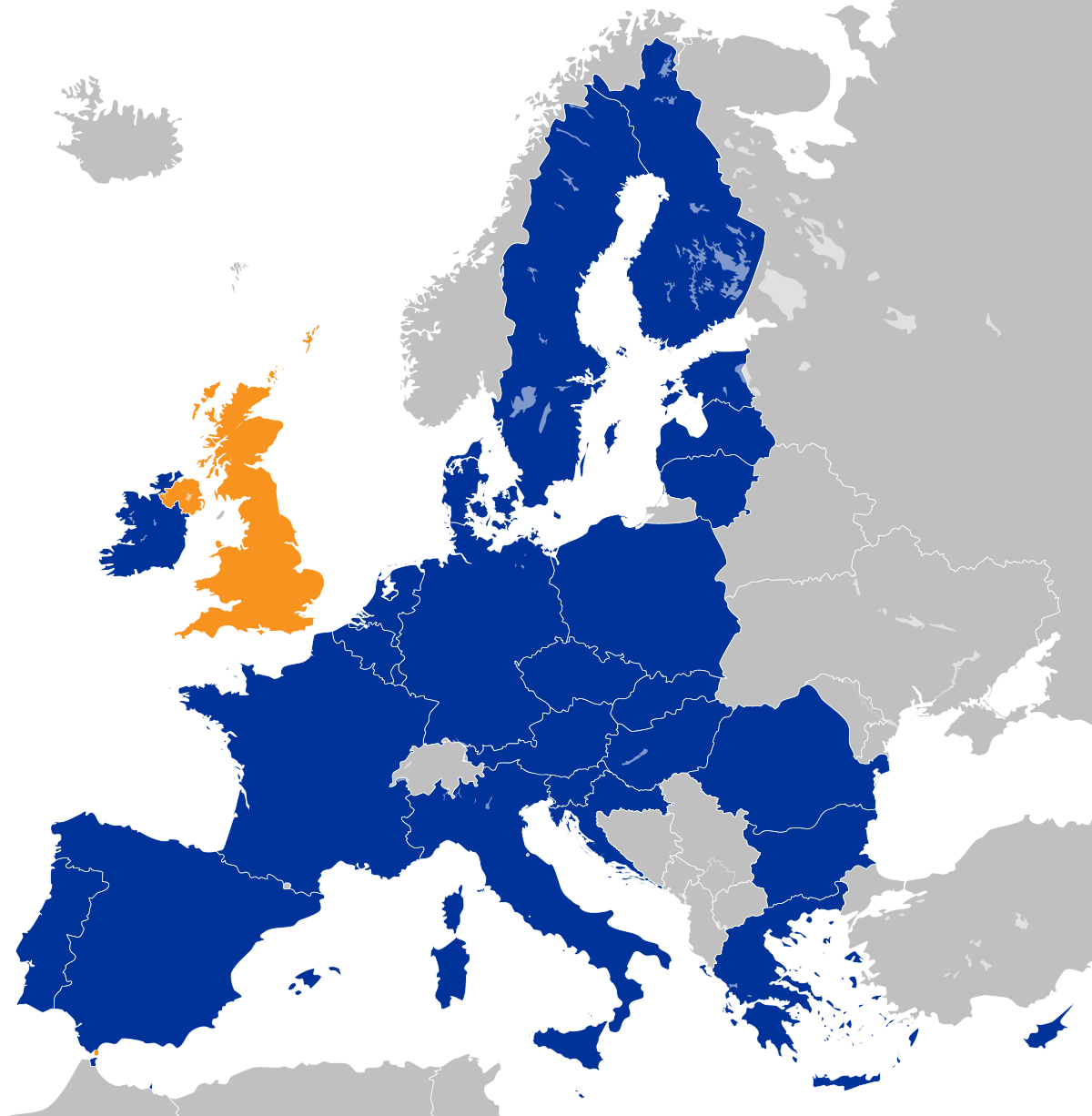 EU and UK map (Brexit)