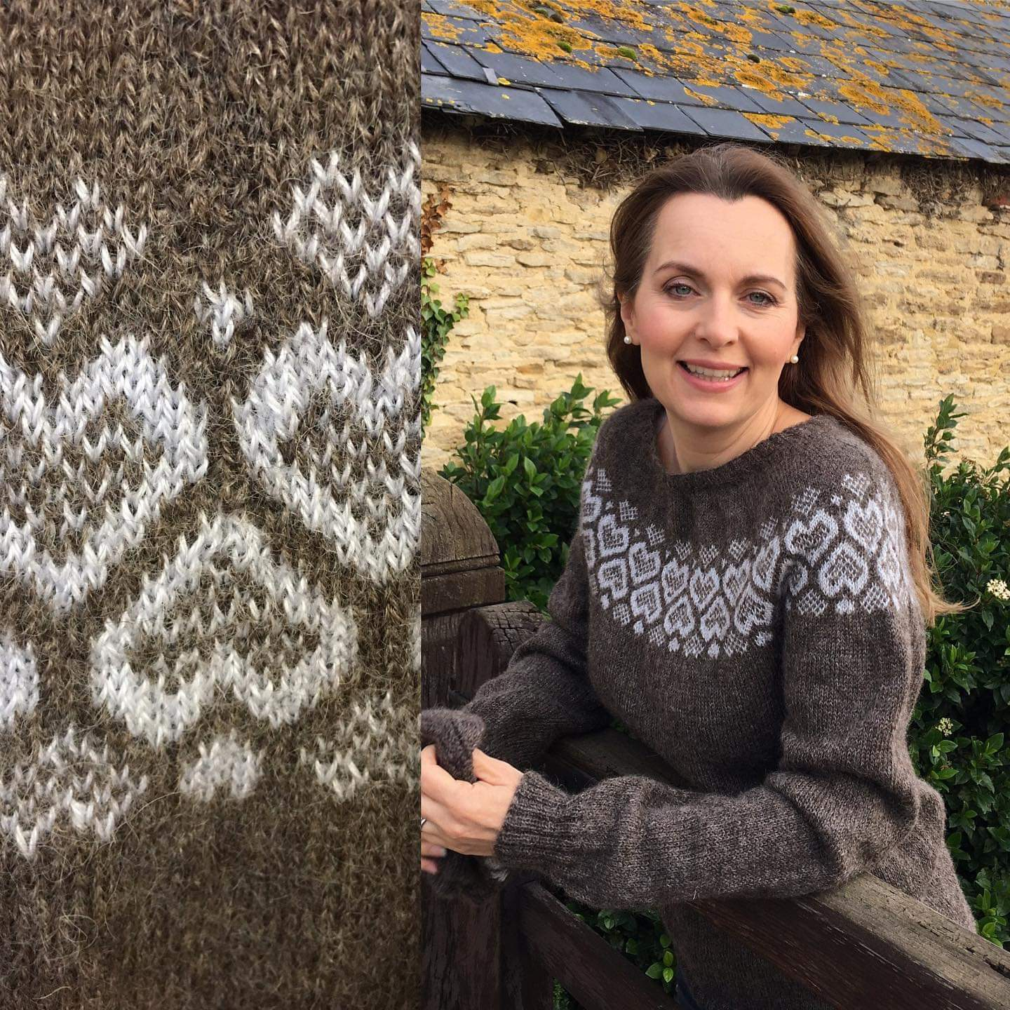 Wensleydale 'After the Rain' jumper modelled by Debra Stephenson