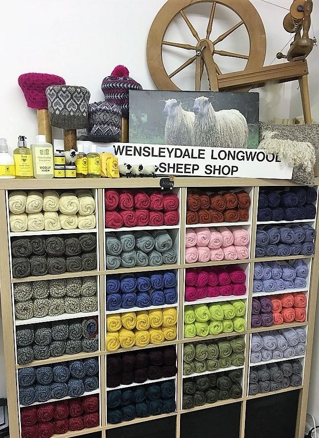 Wensleydale Longwool Sheep Shop interior Wool display