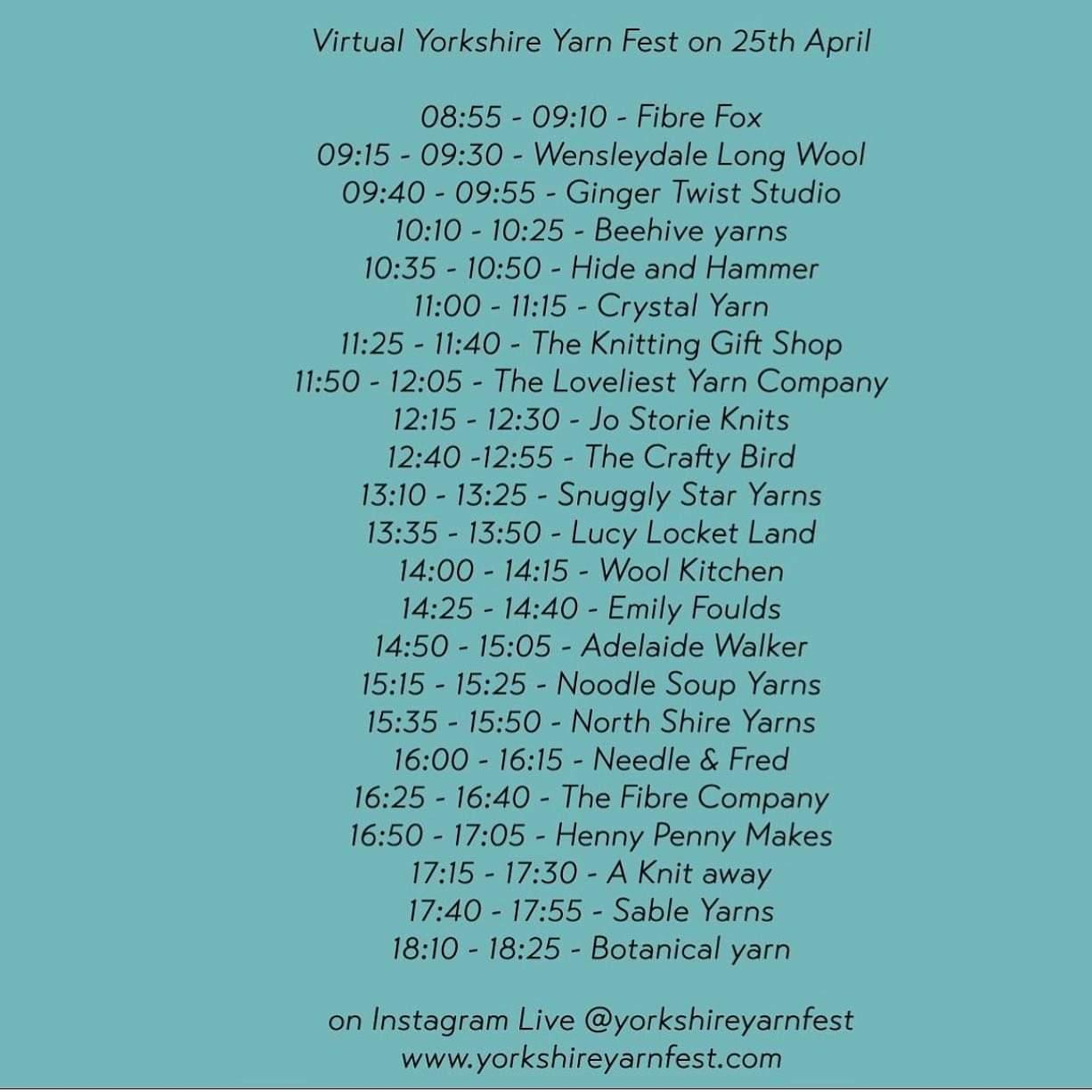 Virtual Yorkshire Yarn Fest - April 2020 schedule