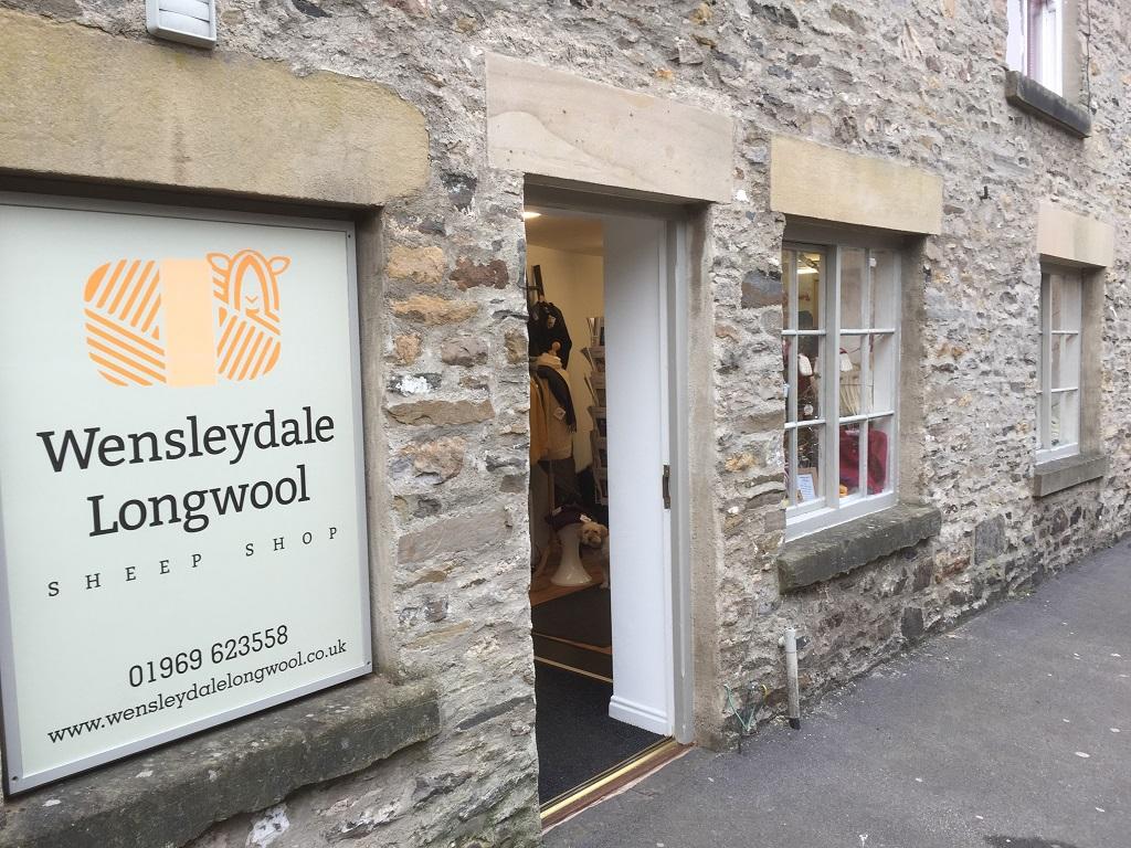Wensleydale Longwool Sheep Shop exterior with door open