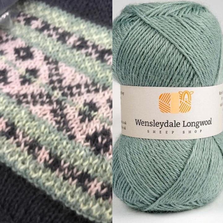 Wensleydale Longwool Fennel DK and Cracking the Flags Fairisle jumper detail