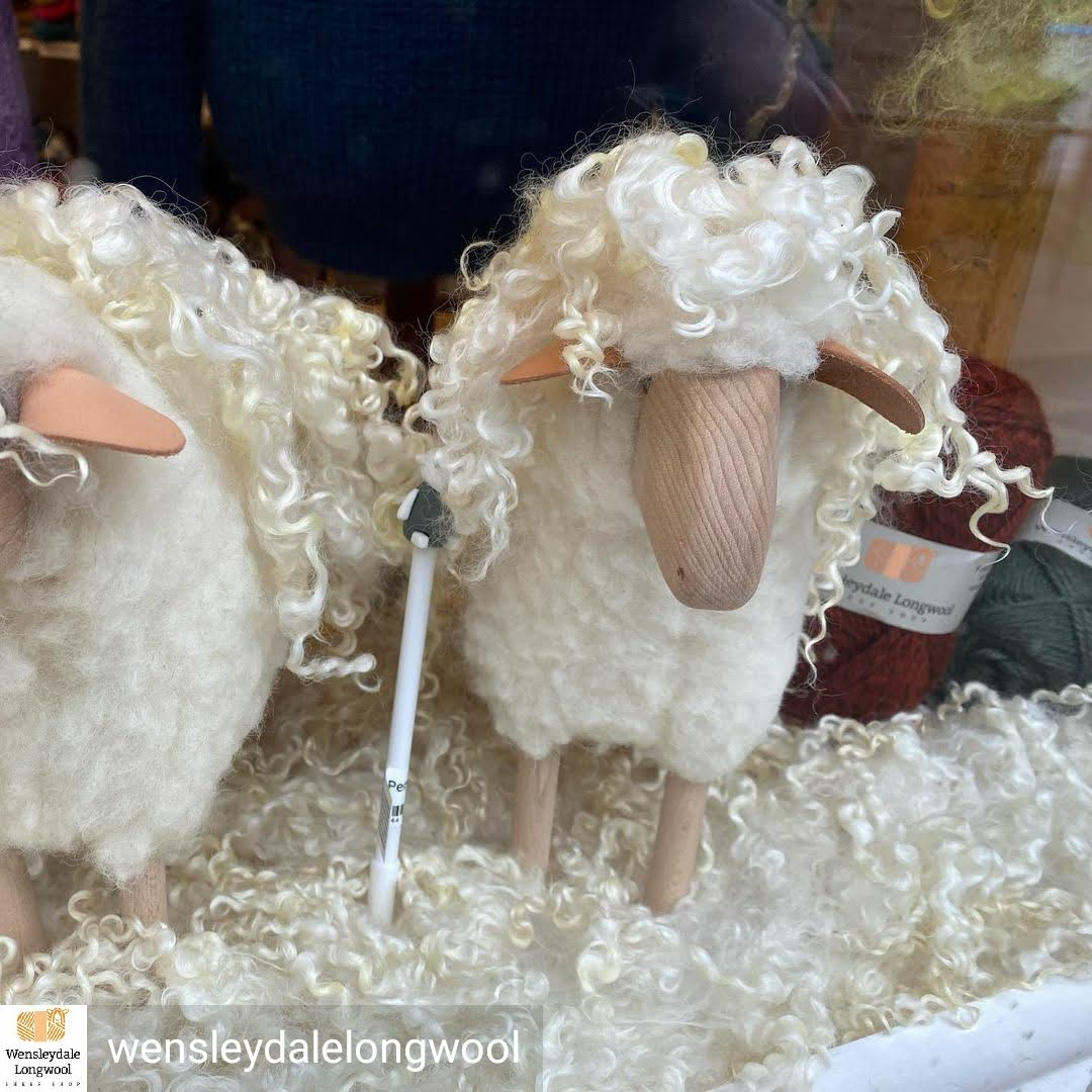 British Wool Sheep models with Wensleydale locks in our Shop window