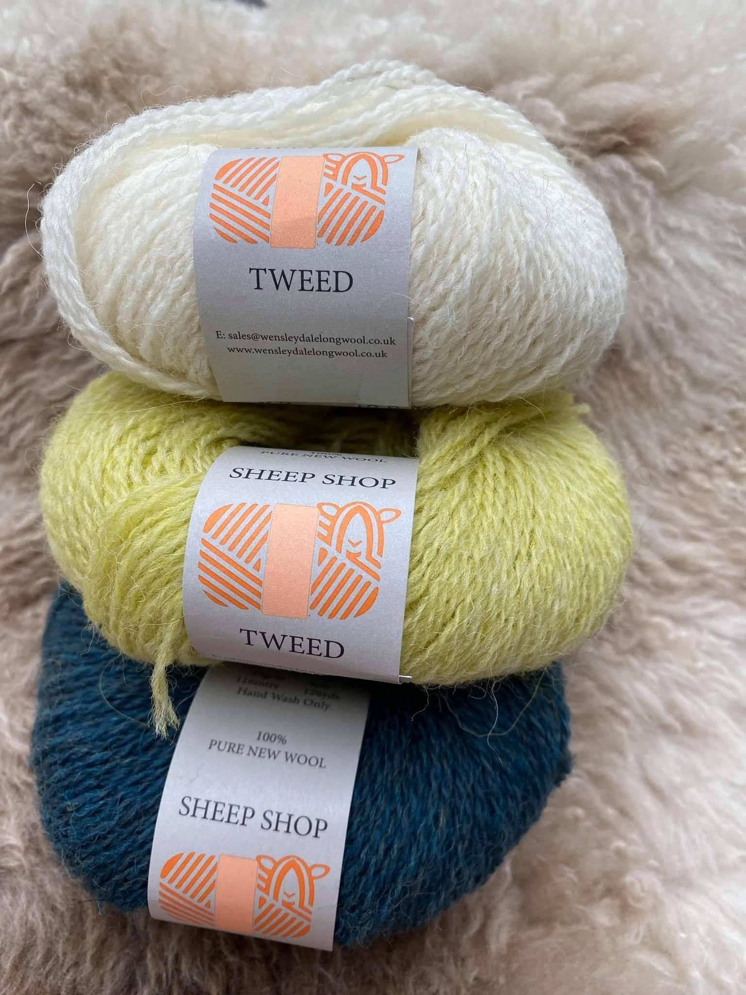 Sheep Shop Tweed yarn in Pure, Sulphur and Mallard