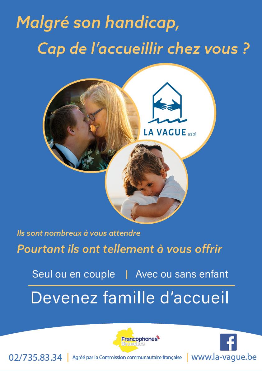Affiche de la Vague : Devenez famille d'accueil.