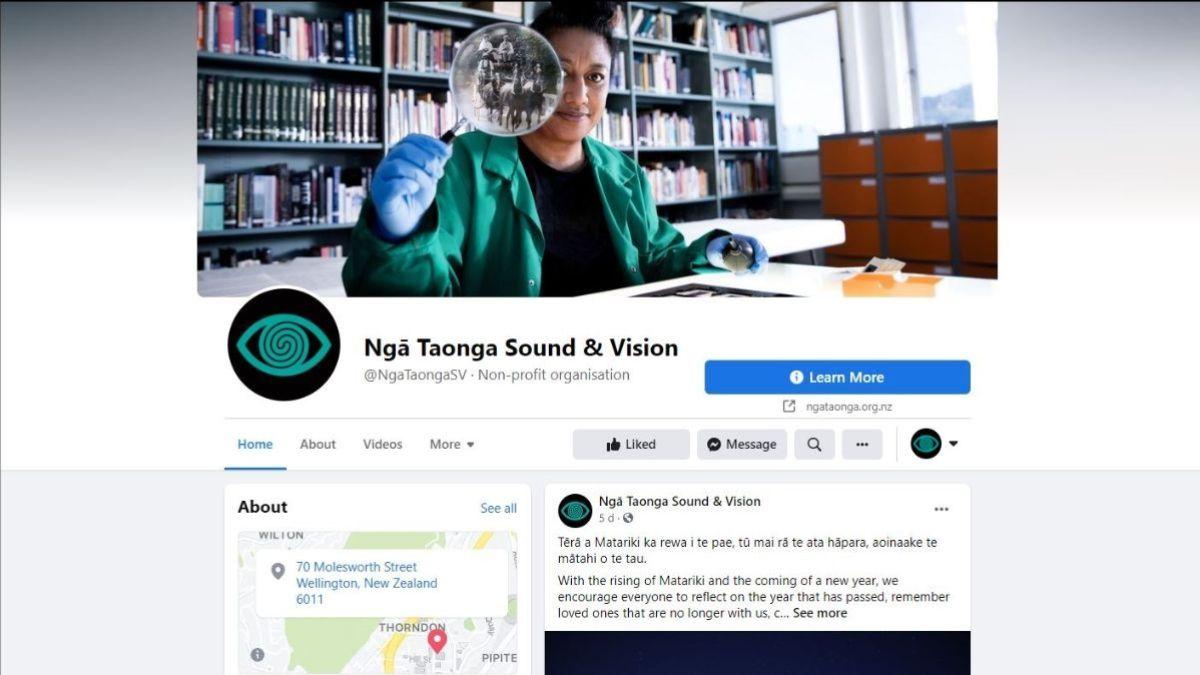 Ngā Taonga Sound & Vision's Facebook page