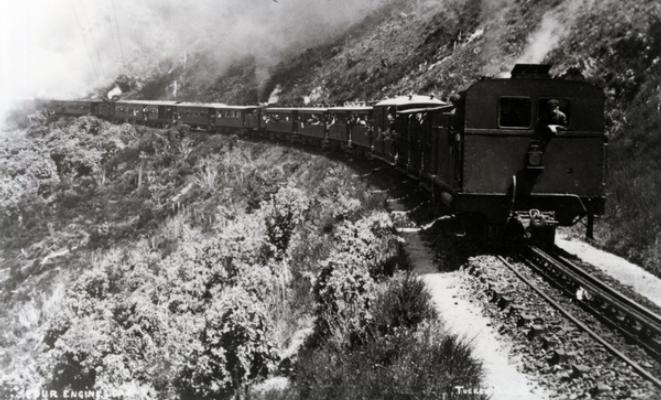 Fell engine on Rimutaka Incline. Courtesy Wairarapa Archive