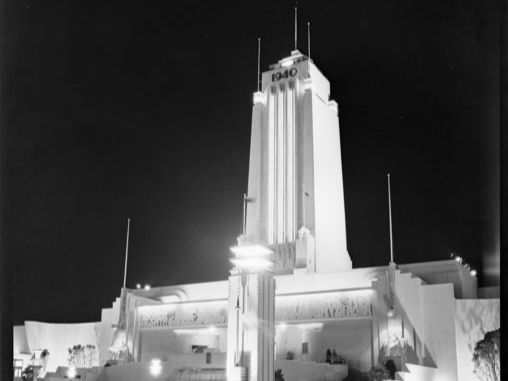 Centennial Tower, New Zealand Centennial Exhibition, Wellington, at night. 1/2-004305-F. Alexander Turnbull Library.
