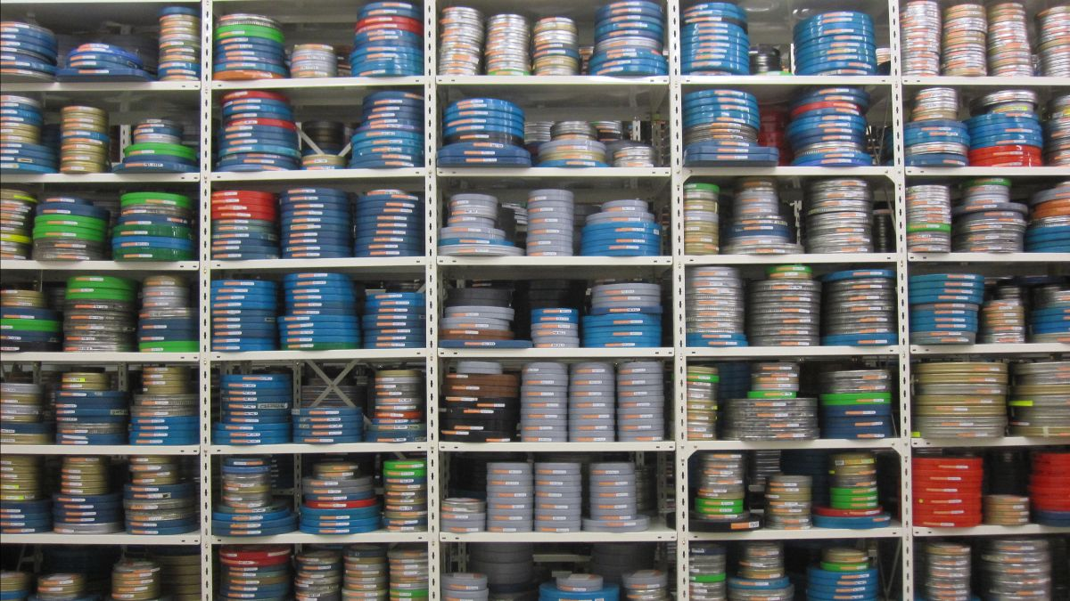 Stack of film cans at the Taupō Pā vault.