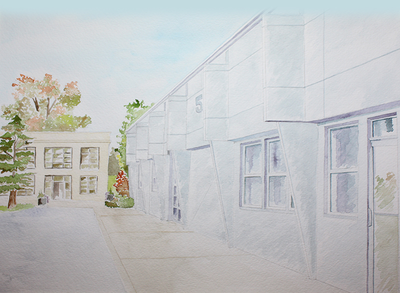 Watercolor painting of our Warehouse (right) and historic Ford Factory (left)