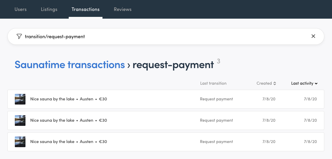 Console view when filtering transactions by transition