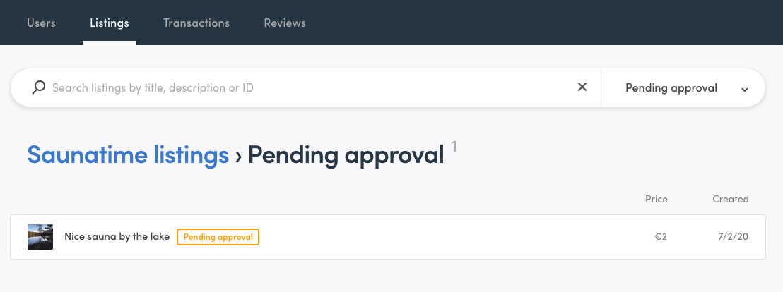 """Console view when filtering listings by """"Pending approval"""" state"""