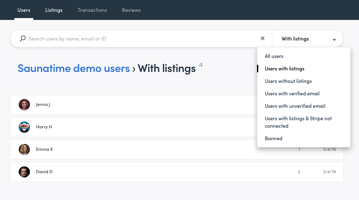 Console view when filtering users with listings.