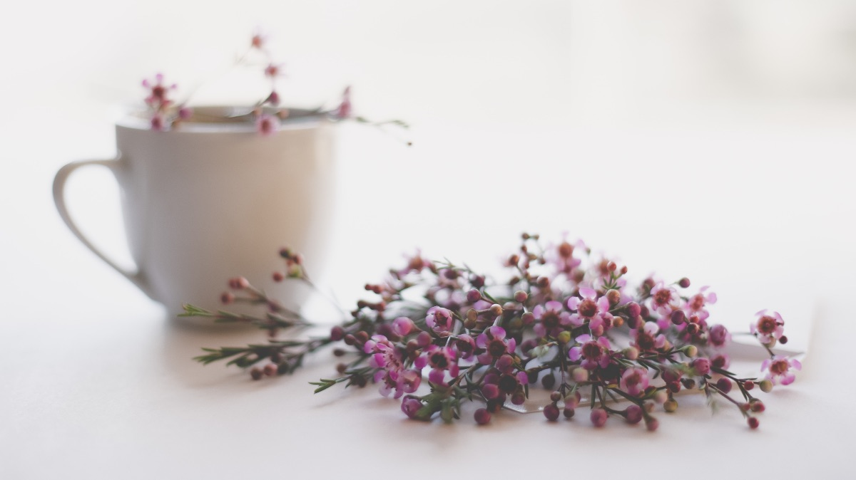 Peaceful white mug surrounded by purple flowers