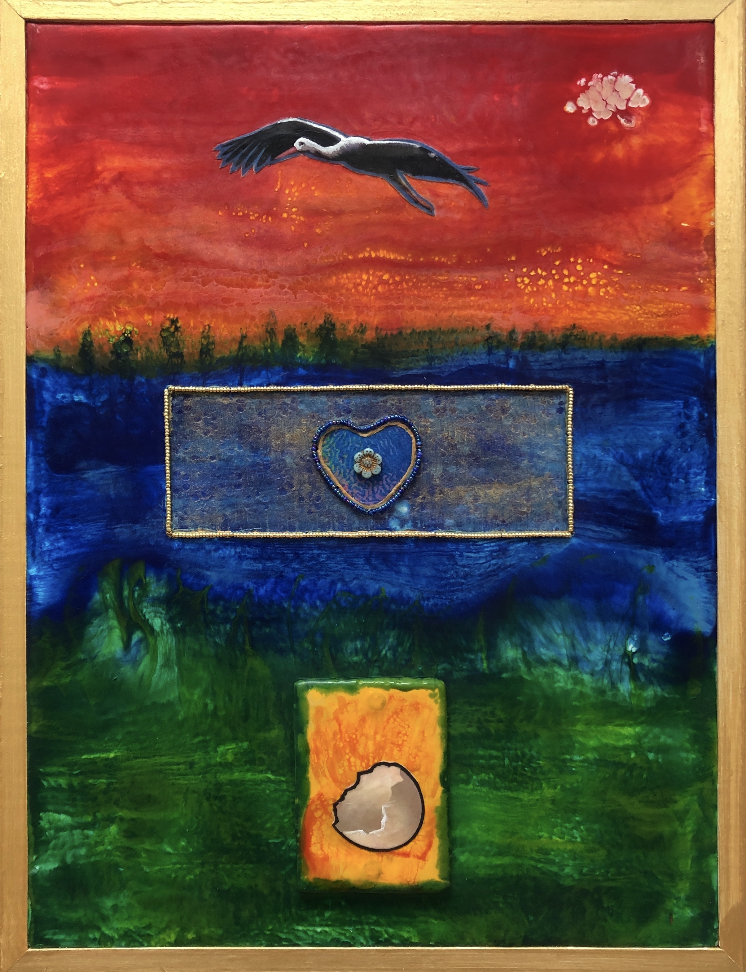 The bold blue, red and green colors are energy of water/sky, fire/sun and earth/ground in The Birth of Love at DebbieMattewArt.com