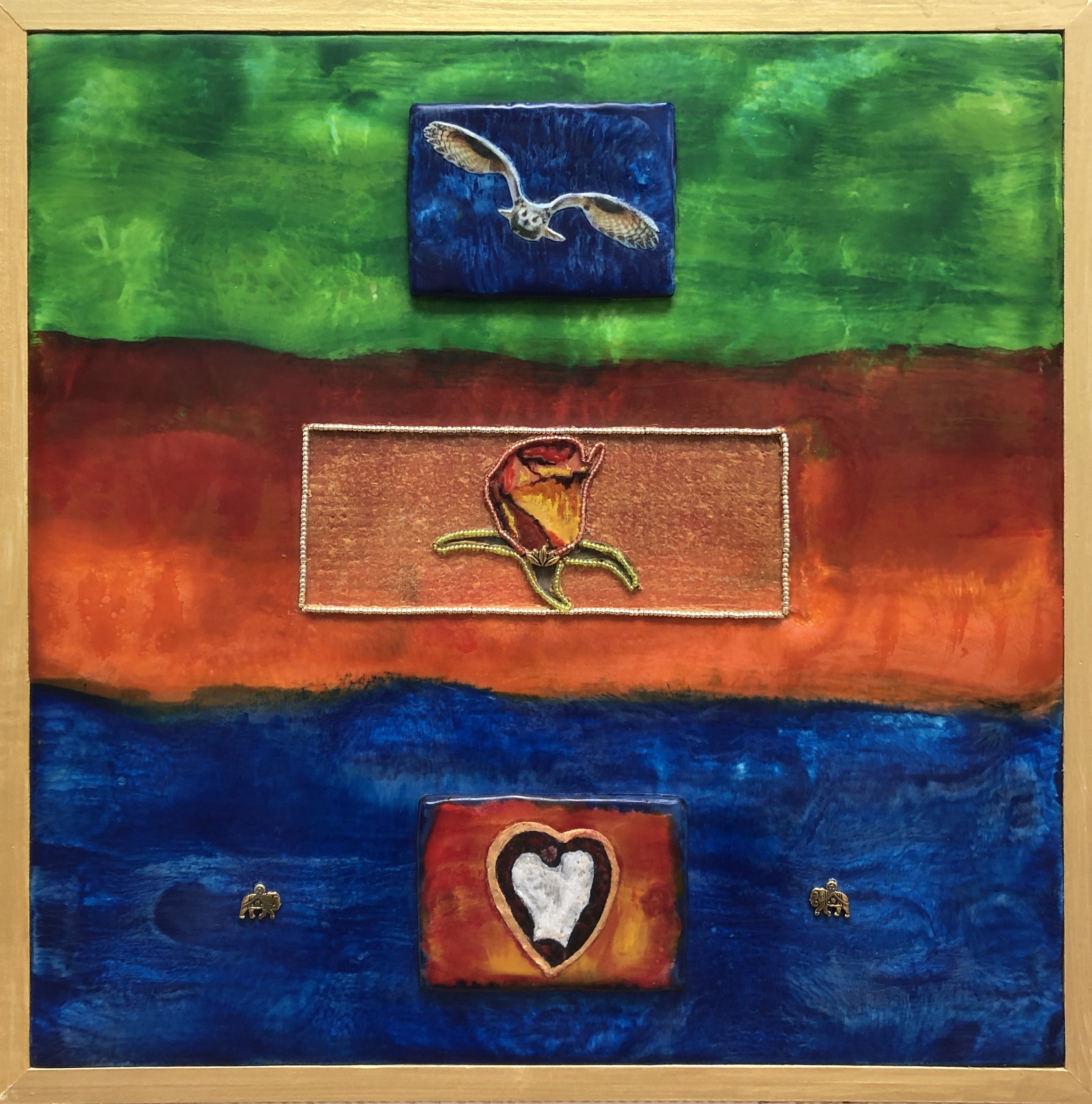 Center panel imagery in The Birth of Love at DebbieMathewArt.com
