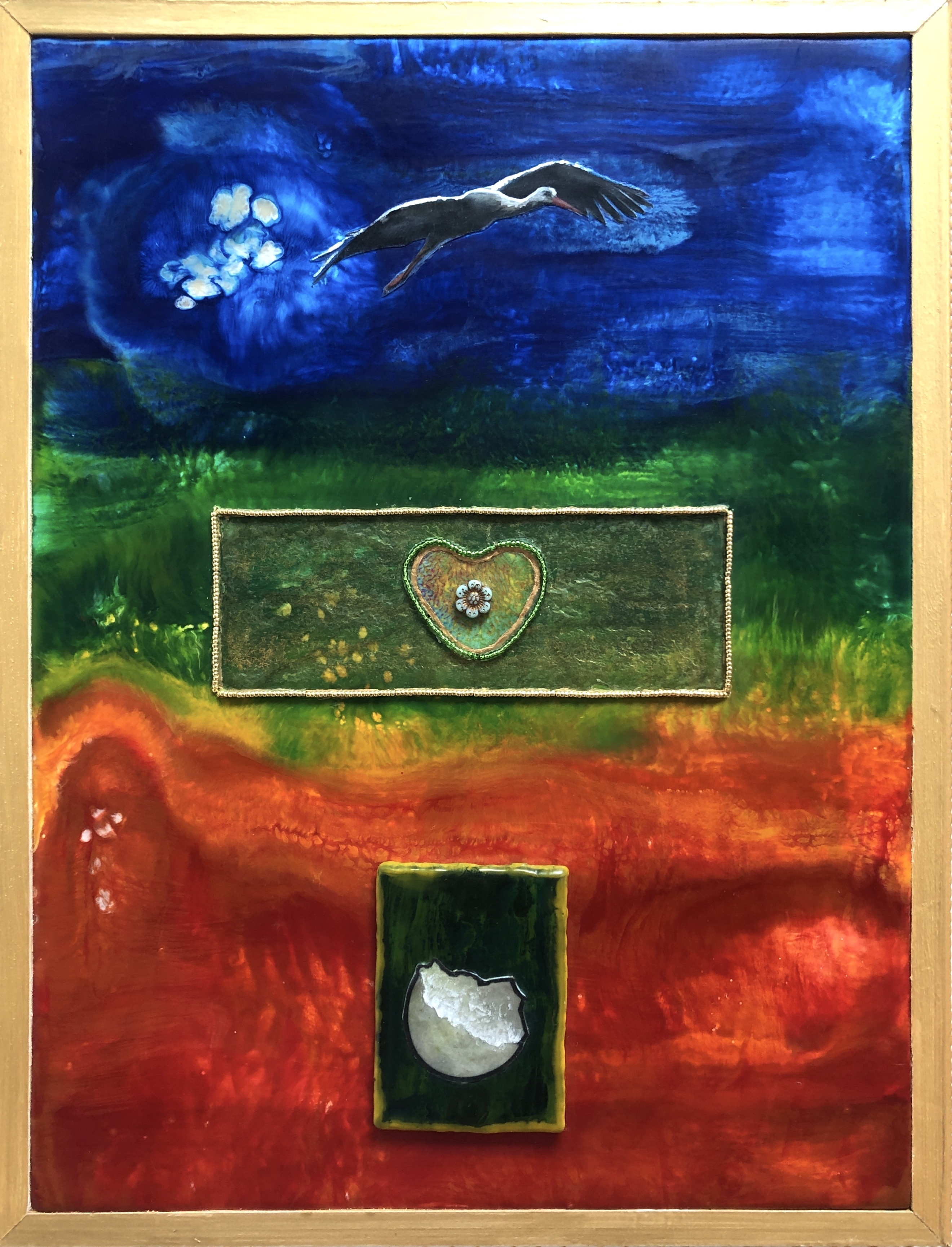 Imagery in the left panel of The Birth of Love at DebbieMathewArt.com