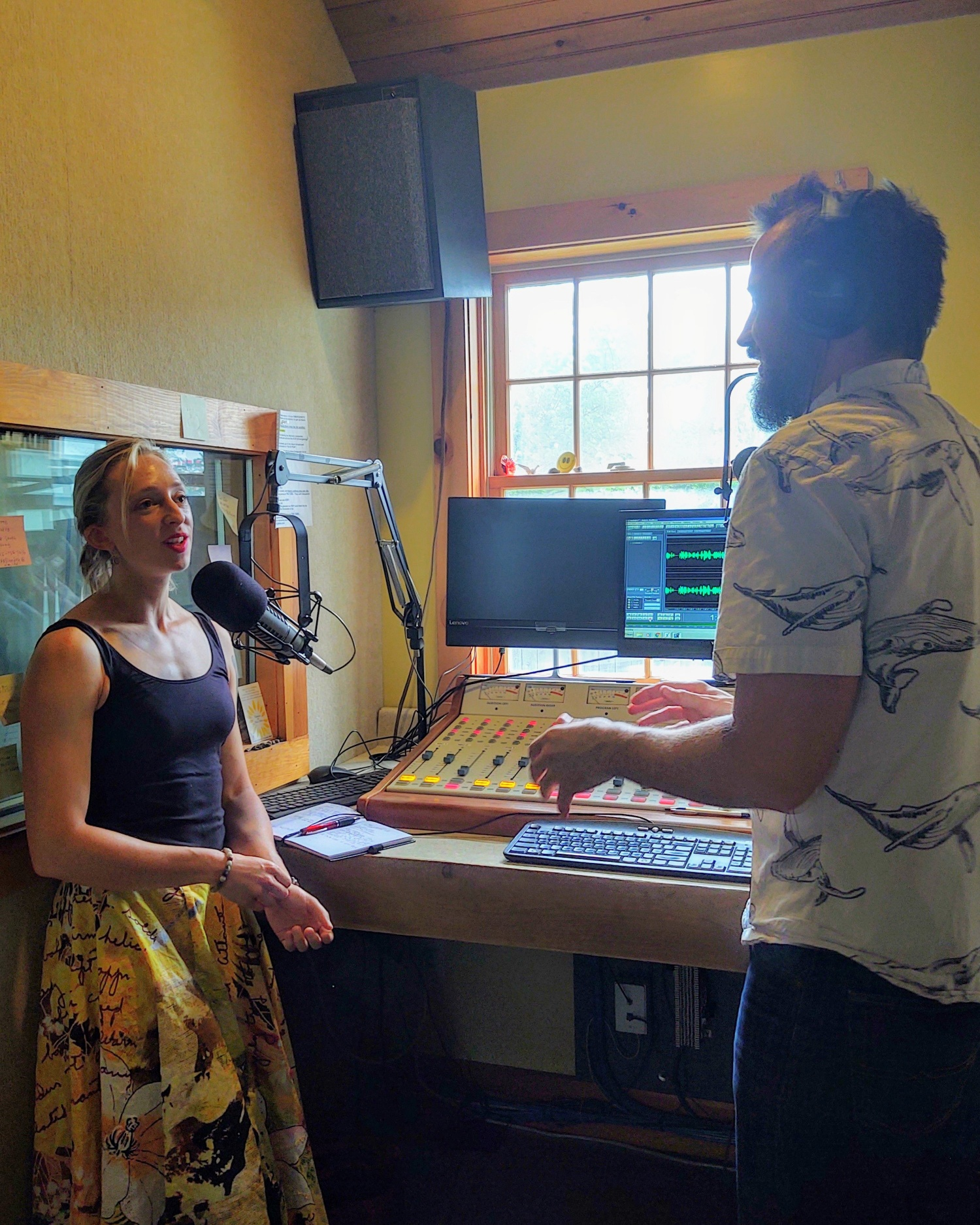 Kay at WKZE radio station with Will Baylies