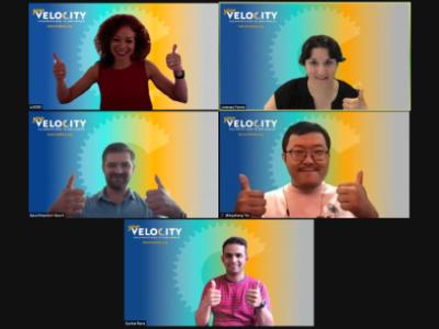 Screenshot of zoom meeting with the 5 members of IICD Team
